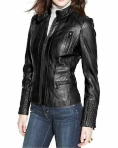 New Women/'s Genuine Lambskin Soft Leather Motorcycle Slim fit Biker Jacket//Coat