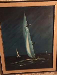 Vintage-Original-Oil-Painting-by-Eulogio-Candedo-Night-Sailing