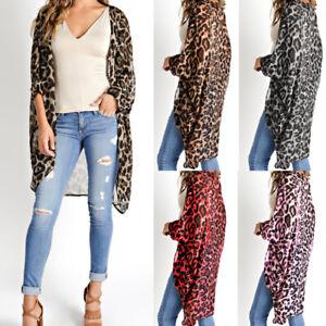 US STOCK Womens Long Sleeve Leopard Print Open Front Jacket Blouse Coat Cardigan