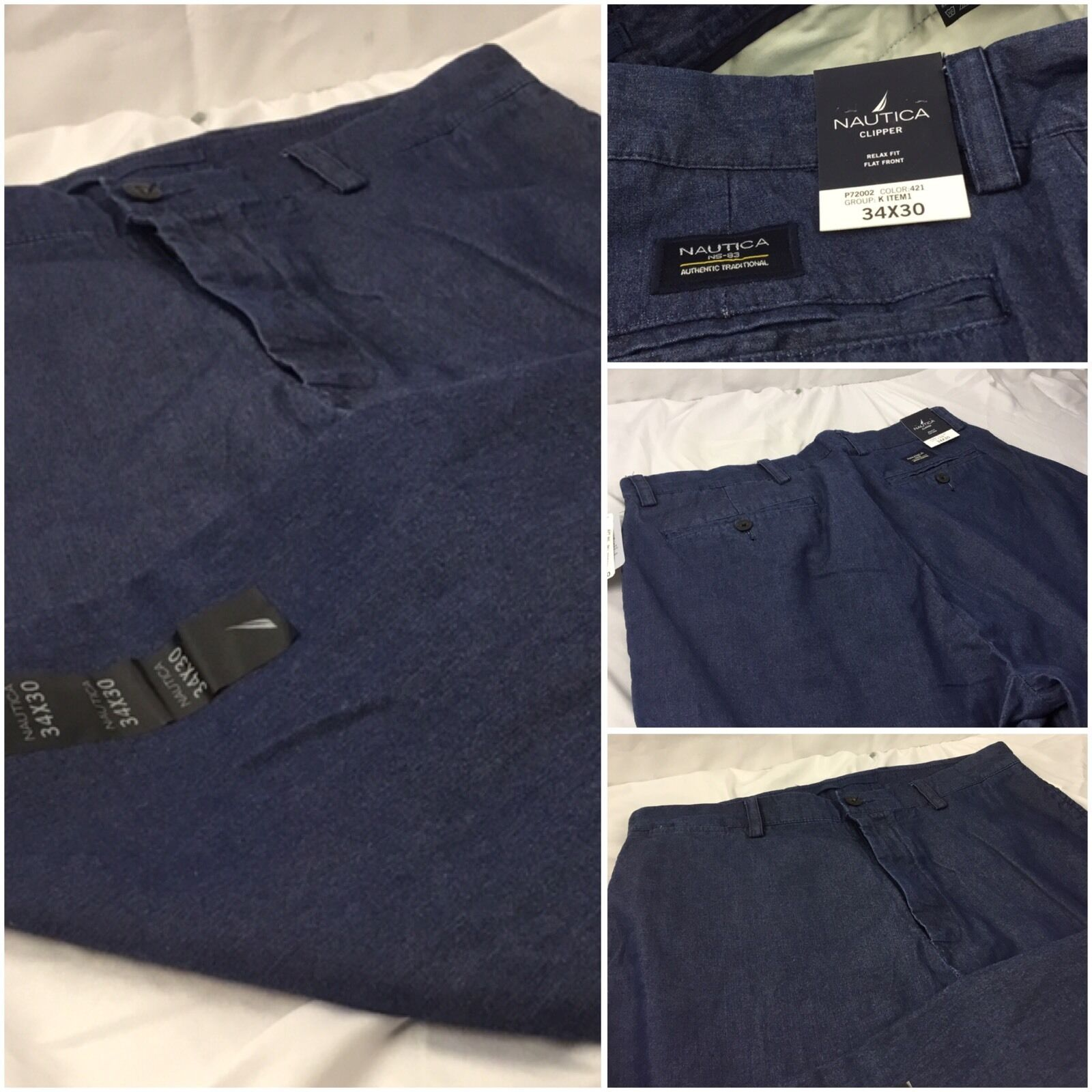 Nautica Casual Pants 34x30 bluee 100% Cotton Flat Front Clipper NWT  YGI 52N