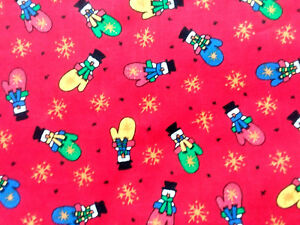 Snowman-Mittens-Snowflakes-on-Christmas-Red-Cotton-Fabric-BTY