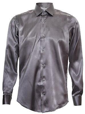 Mens Satin Silk Shirt Smart Casual Button Down Cuff Tailored Fit