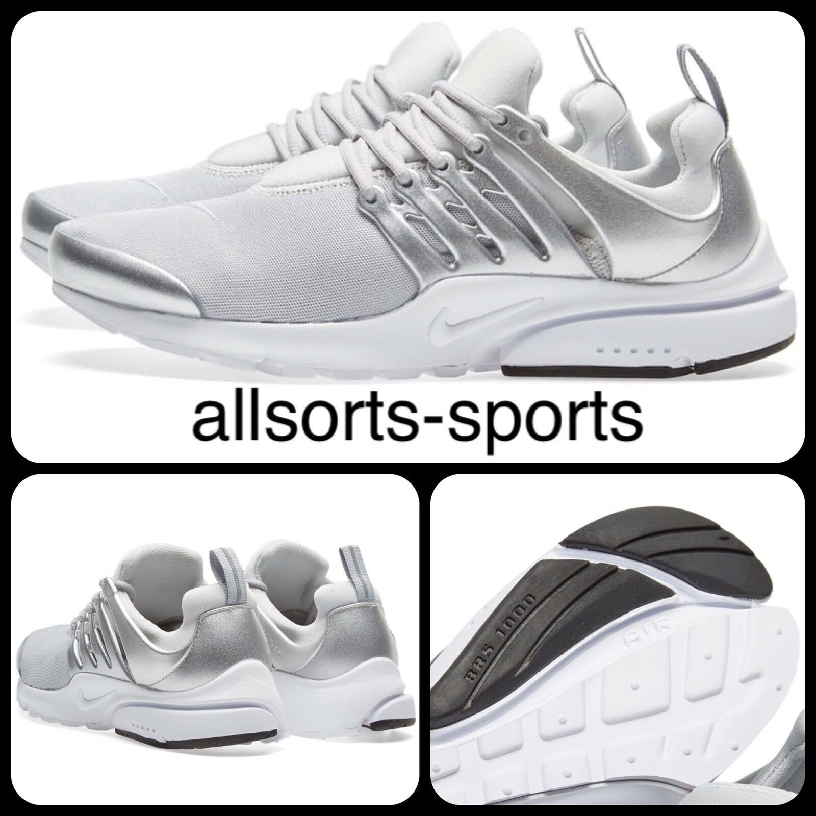 1S81 Nike Air Presto Premium EUR 47.5 848141-001 Platino Argento Metallizzato