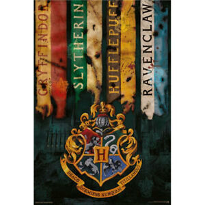 Harry-Potter-House-Flags-POSTER-61x91cm-NEW-Hogwarts-Gryffindor-Slytherin