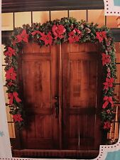 Martha Stewart 17Ft Poinsettia Berry Garland For Christmas Holiday Covered Entry