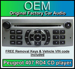 peugeot 407 car stereo cd player peugeot rd4 radio free vin code and keys ebay. Black Bedroom Furniture Sets. Home Design Ideas
