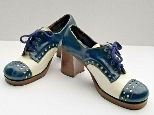 Vintage 60s 70s Platform Saddle Shoes Sz 8.5 Navy