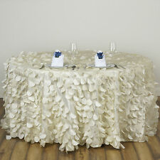 "Ivory ROUND PETAL 120"" TAFFETA TABLECLOTH Fancy Catering Wedding Party Linens"
