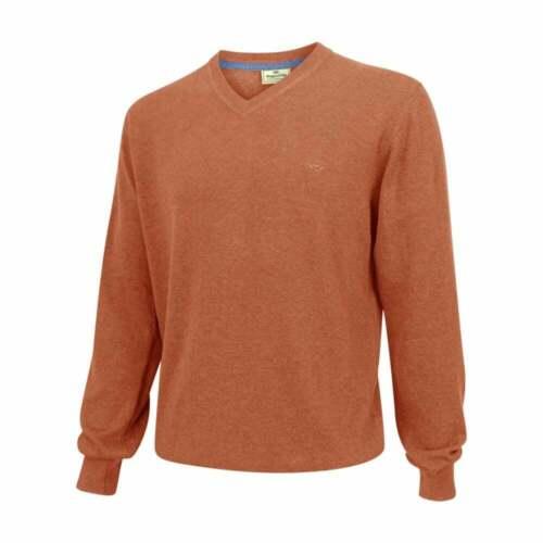 Hoggs Of Fife Stirling V-Neck Pullover Rust Long Sleeved Jumper