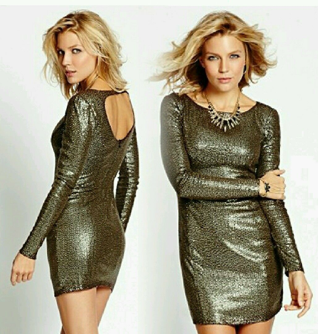 Holiday Guess Woherren Gold Sequined Fitted Dress Sz L