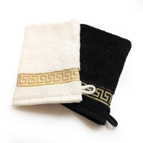 Méandres gant de toilette Laver gant seiflappen seiftuch Blanc & Noir-Doré versac