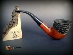 HAND-MADE-WOODEN-TOBACCO-SMOKING-PIPE-PEAR-no-45-Rustic-Orange-Filter