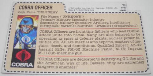 Hasbro 1982-1995 G.I Vintage GI Joe ARAH File Cards YOUR CHOICE Joe Cobra