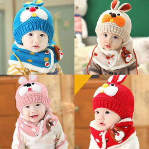 Bébé Garçon Fille Enfants Chaud D'Hiver Tricot Bonnet Bonnet + Écharpe Tube 2pcs