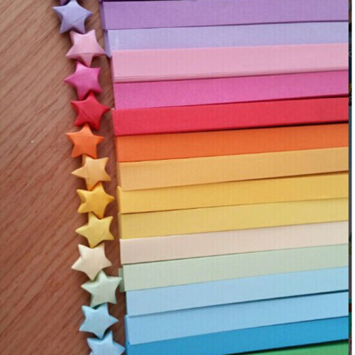 160pcs Origami Lucky Star Paper Strips Folding Paper Ribbons Colors New Ec