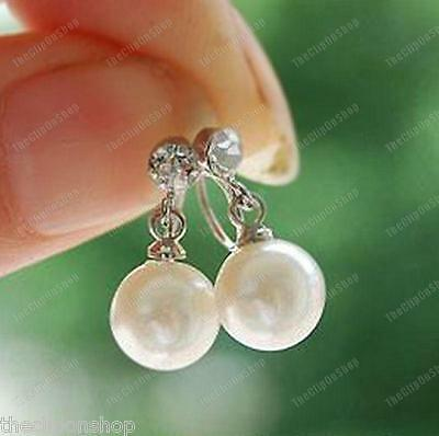 U CLIP ON comfy CREAM PEARL DROP & CRYSTAL stud EARRINGS rhinestone IVORY