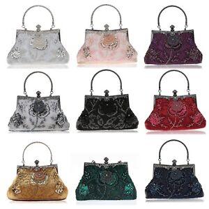 Evening-Handbags-Floral-Pattern-Bags-Sequins-Beaded-Clutch-Women-039-s-Purse-Wallets