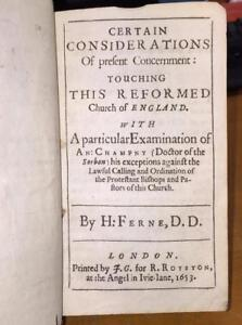 1653-H-Ferne-039-Certain-Considerations-Church-Of-England-039-Theology-Anglican