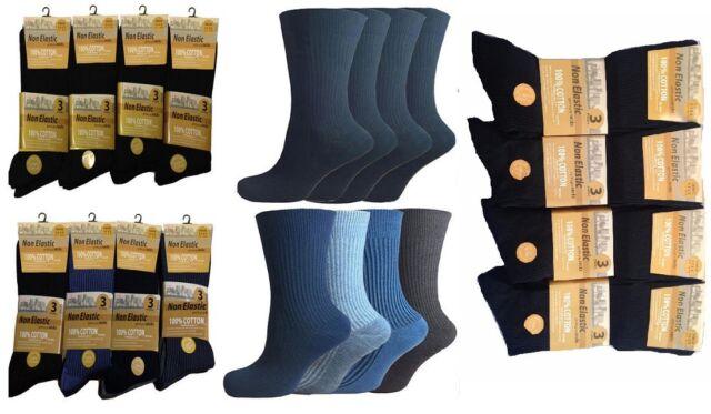 Mens Non Elastic Socks 100/% Cotton Flexi Loose Soft Top Diabetic 6-11