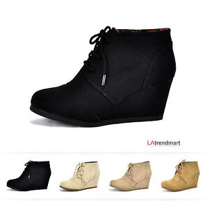New Hot Women Oxford Ankle Booties Lace up Wedge Heel Shoes ...