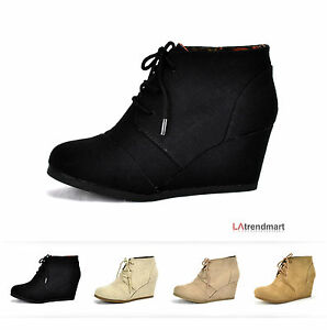 bfcd3fdbd814 New Hot Women Oxford Ankle Booties Lace up Wedge Heel Shoes ...