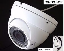 HD-TVI 3MP Dome Camera 3 MegaPixel CMOS Varifocal 2.8-12mm, 36 IR WDR HDTVI 4in1