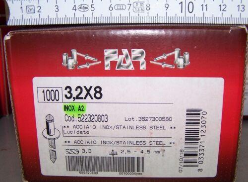 visage plat est coincé 2,5-4,5mm livraison gratuite 1000 Rivetage 3,2x8 acier inoxydable a2