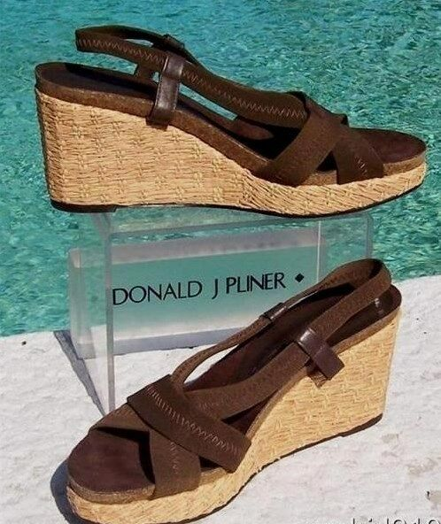Donald Pliner Couture Suede Pelle Straw Wedge Platform Shoe NIB Signature  235