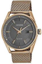 Citizen DRIVE BM6983-51H Men's CTO Rose Gold Tone Grey Dial Mesh Band Watch