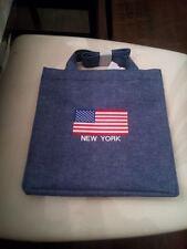 MACY'S N Y Denim Small Flag Hand Bag Bule brand new -no tax