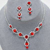 Elegant Jewelry Ruby Red Bridal Prom Pageant Formal Crystal Necklace Set