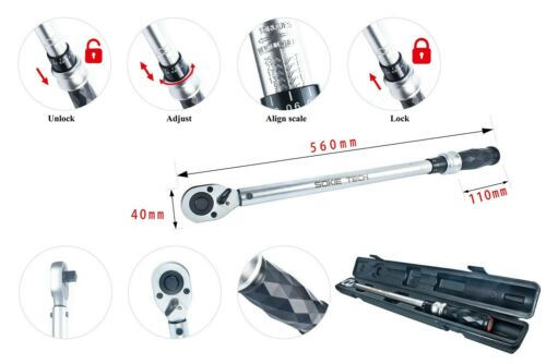"""Sokie Tech Professional 4/% Torque Wrench 1//2/"""" Drive 50-350 NM//48-247.2 FT-LB"""