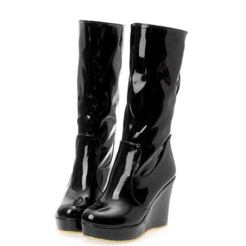 Brillant pour Femme Cuir Verni Talons Compenses Plateforme Bottes Mi-mollet Talon Haut Chaussures nouveau SZ