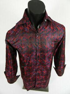Mens Daniel Ellissa Dress Shirt High Collar Button Front Black Silver Paisley