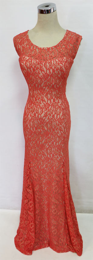 NWT SEQUIN HEARTS  120 orange Prom Party Evening Gown 3