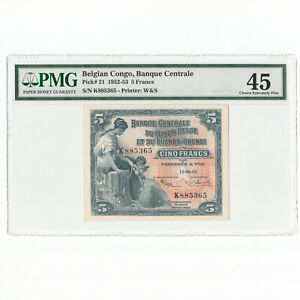 BELGIAN CONGO 5 Francs 15.09.53 1953 P-21 PMG 45 XF Extremely Fine