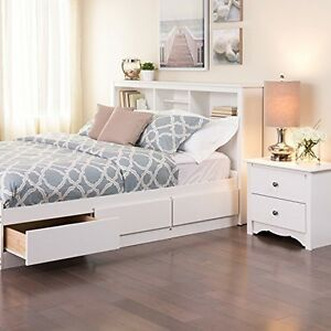 queen bookcase headboard with storage white wood bedroom. Black Bedroom Furniture Sets. Home Design Ideas