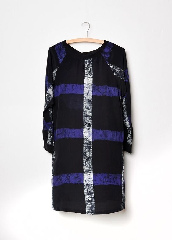 Osei Duro Costa Dress in Beautiful Cobalt Grid Print, Size XS, Sold Out, NWOT