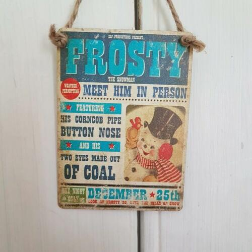 WANTED FATHER CHRISTMAS RUDOLPH FROSTY THE SNOWMAN FAVOURITE ELF MINI METAL SIGN