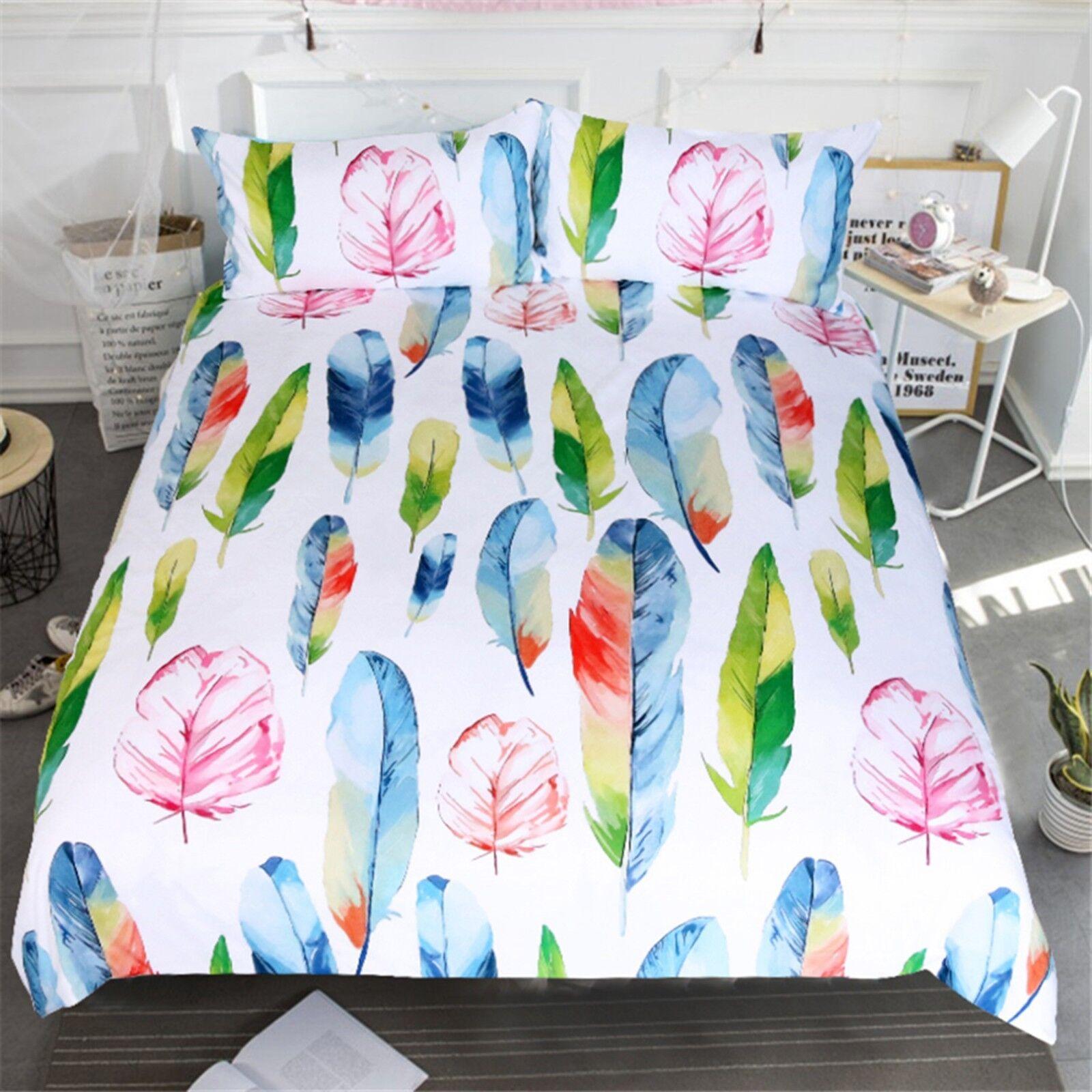 3D Feather Art 510 Bed Pillowcases Quilt Duvet Cover Set Single Queen King AU
