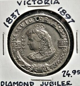 Canada 1897 Queen Victoria Diamond Jubilee medal, WM, 35mm *Holed