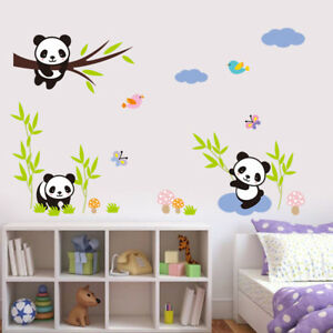 Image Is Loading Zoo Animal Panda Tree Birds Kids Room Decor