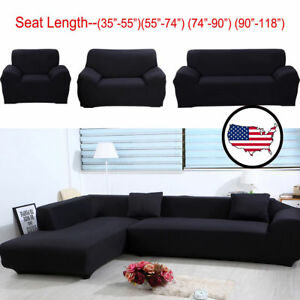Black Stretch Ultra Soft L-Shaped Sectional Corner Loveseat Sofa ...