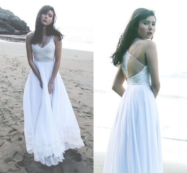 Boho Bohemian Wedding Dresses Lace Chiffon Beach Bridal Gowns