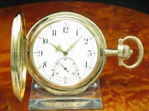 IWC-Schaffhausen-14kt-585-Gold-Savonette-Taschenuhr-von-ca-1897-Kaliber-53