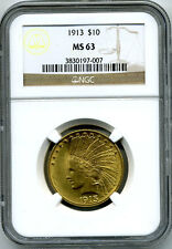 1913 Gold $10.00 Indian Ngc Ms 63 (Scarcer Date)