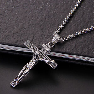 Mens-Women-Chain-Necklace-Cross-Stainless-Steel-Pendant-Crucifix-Jesus-CH