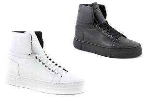 Sneakers uomo alte pelle nere bianche fondo alto scarpe made in ... ef7c298e0ac