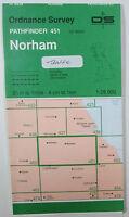 1993 old vintage OS Ordnance Survey 1:25000 Pathfinder map 451 Norham NT 84/94