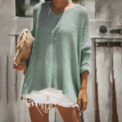 Women/'s Winter Boho Warm O Neck Long Sleeve Loose Fit Knit Sweater Tops Pullover